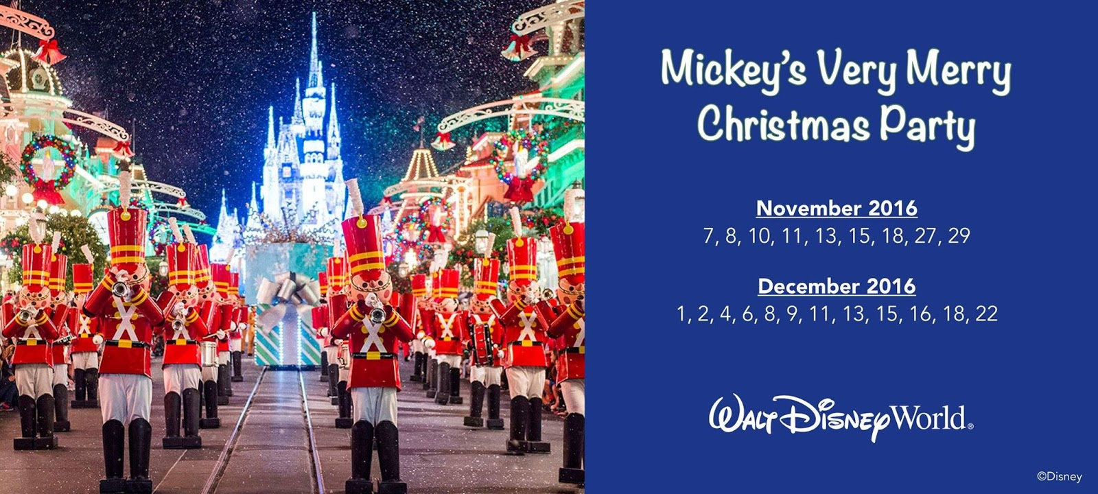 mickeys very merry christmas party 2016 dates