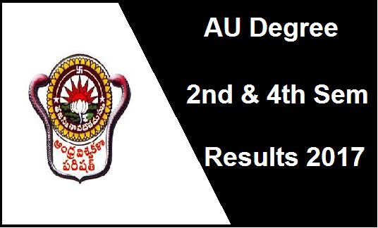 AU Degree 2nd 4th Sem Results 2017