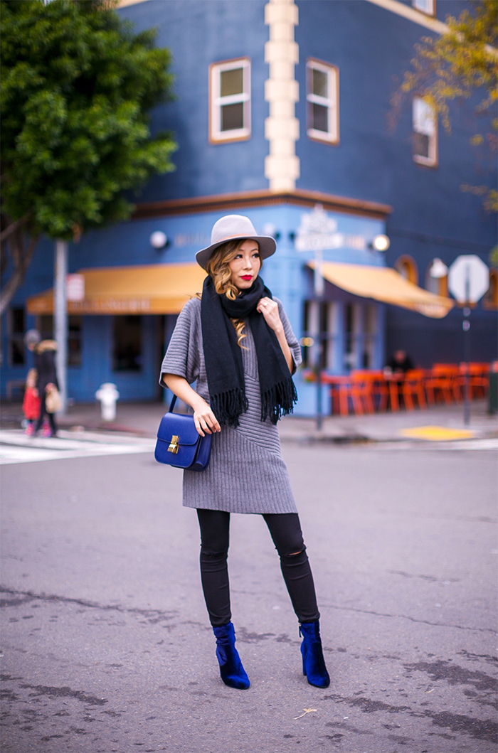 ribbed sweater dress, aster ribbed sweater dress, acne studio scarf, celine classic box bag, 7fam baire denim, steve madden velvet ankle booties, hat attack ny fedora hat, fedora hat, holiday outfit ideas, san francisco street style, san francisco fashion blog