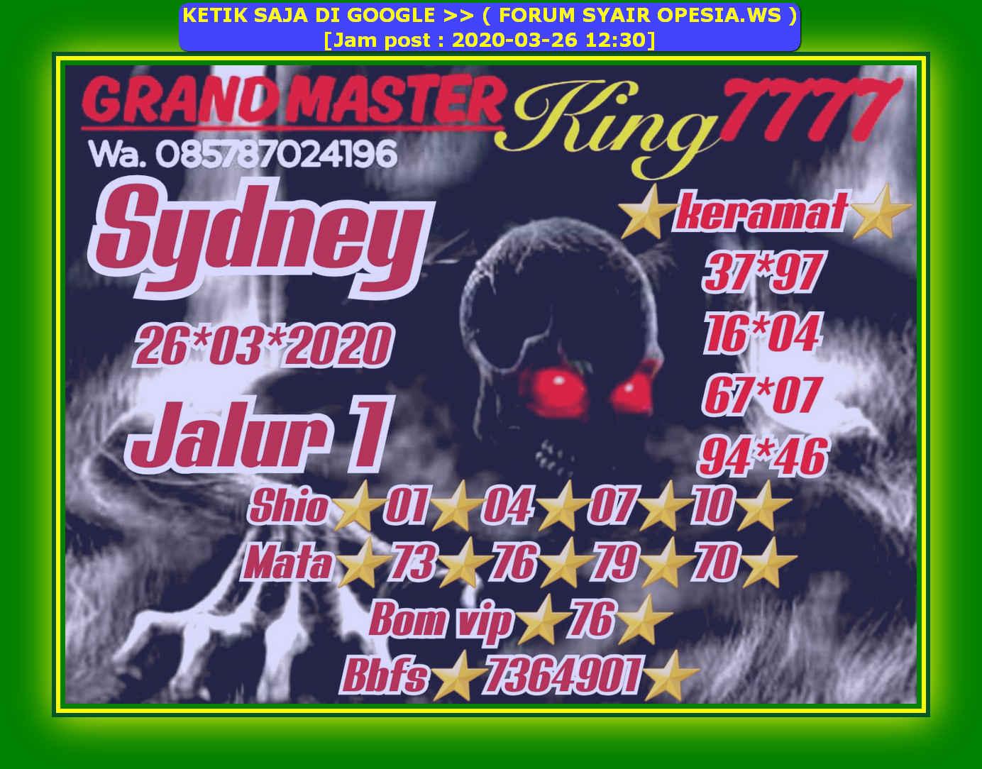 Kode syair Sydney Kamis 26 Maret 2020 2