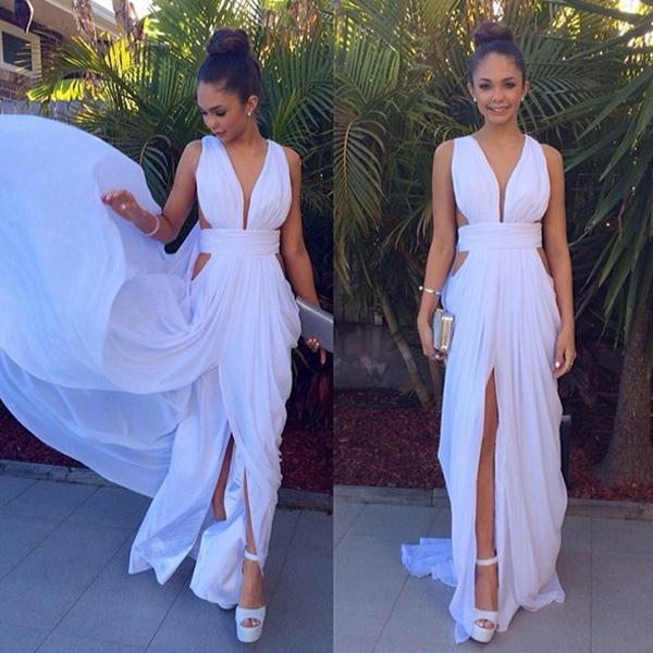Sheath/Column Straps Sweep/Brush Train New Prom Dresses 2016 Online #SP8179