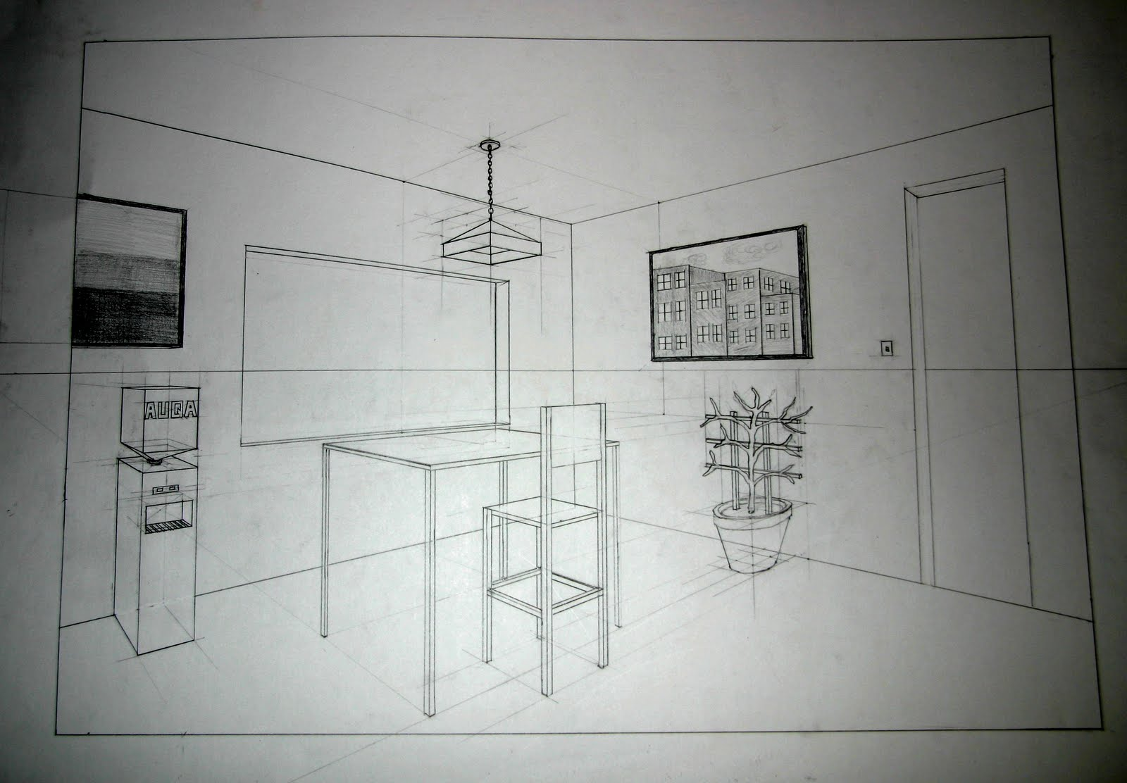 Two Point Perspective Interior Drawing Tutorial Two Point