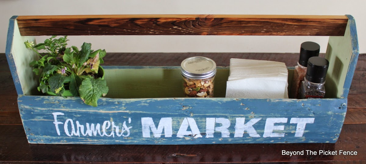 Old sign stencils, fusion mineral paint, toolbox, build it, reclaimed wood, farmhouse decor, http://bec4-beyondthepicketfence.blogspot.com/2015/04/farmers-market-toolbox.html