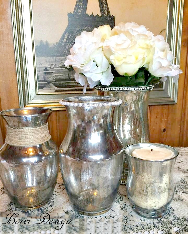 Diy Tutorial How To Turn Plain Glass Containers Into Faux Mercury Glass
