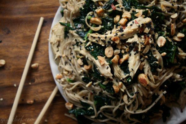 Peanut-Sesame Soba Noodles w/ Chicken & Kale