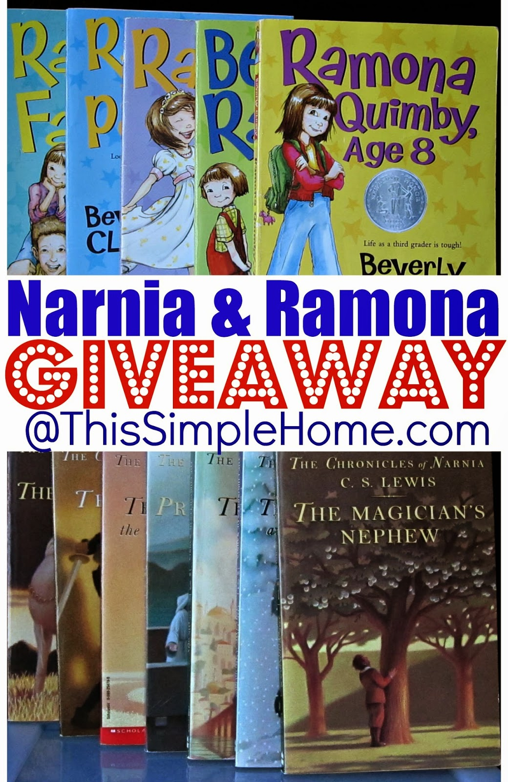 Narnia and Ramona books with giveaway