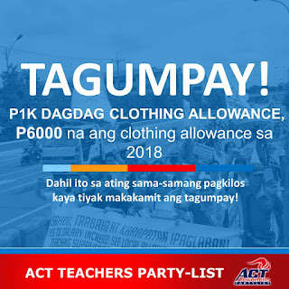 Additional 1000 Pesos Clothing Allowance for Teachers in 2018