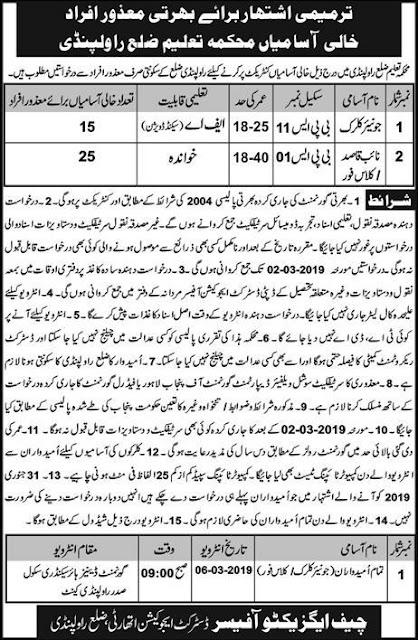 Education Department Jobs 2019 in Rawalpindi