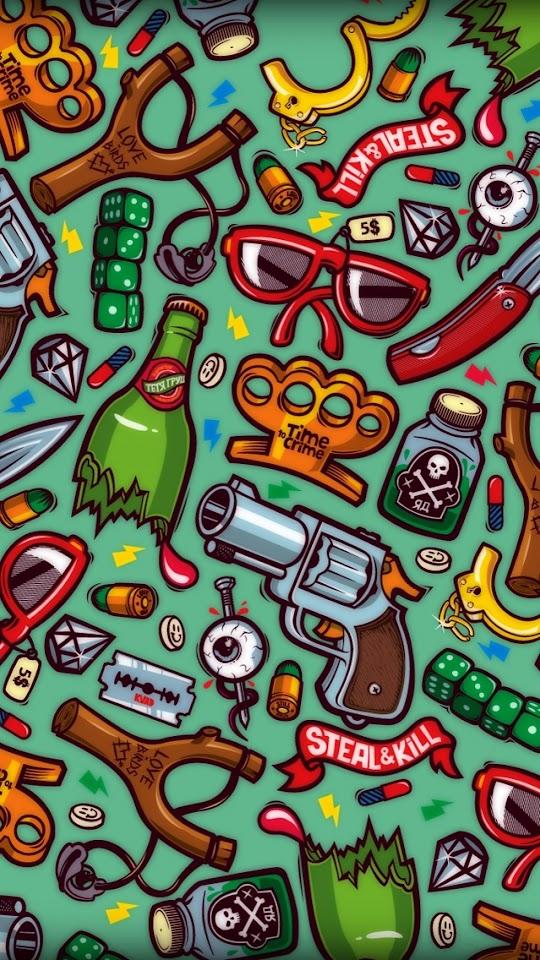 Violence Symbols Illustration By Konstantin Shalev  Galaxy Note HD Wallpaper