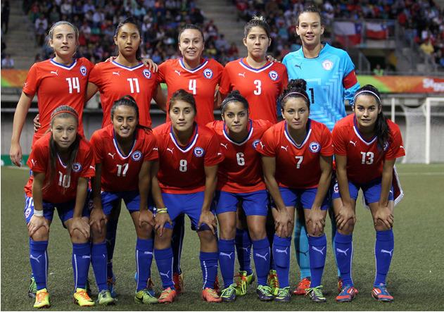 Formación de selección femenina de Chile ante Venezuela, Juegos Suramericanos Santiago 2014, 14 de marzo