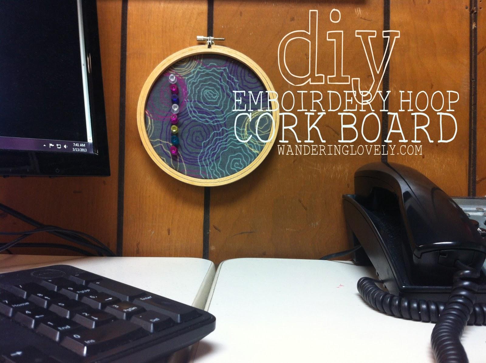 diy embroidery hoop cork board