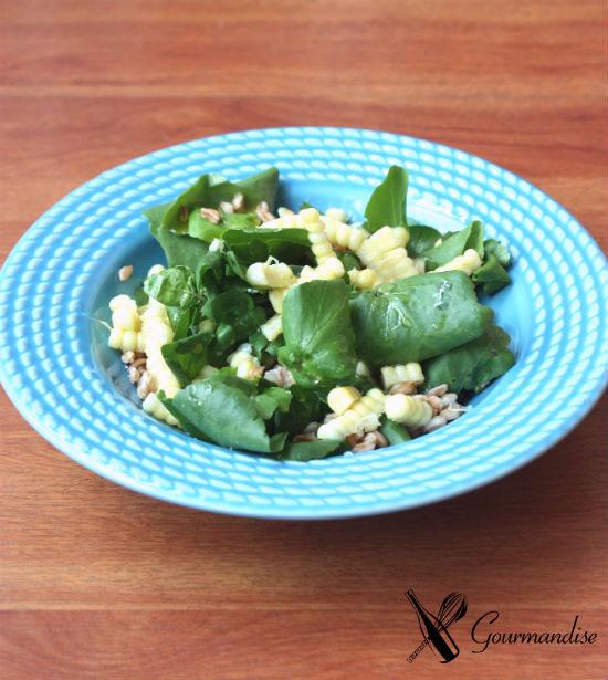 Salada de agrião, milho e enkir