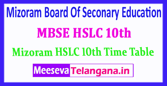 MBSE HSLC 10th Mizoram Board Of Seconary Education 10th Exam Time Table 2018 Download