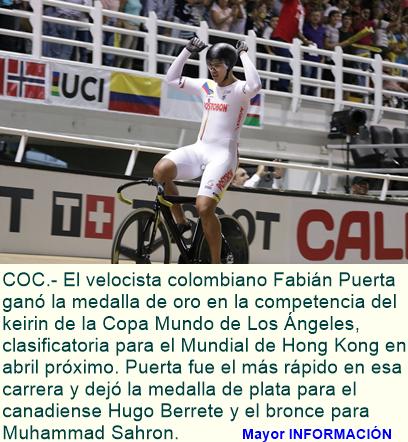 Fabián Puerta ganó oro en la Copa Mundo de Los Ángeles