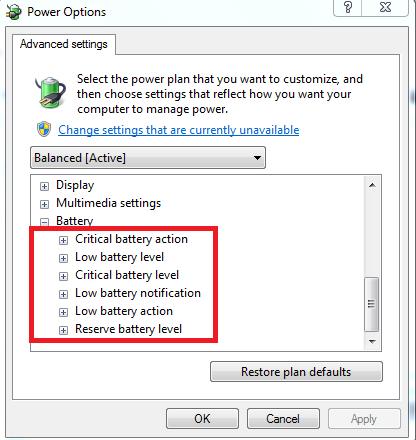 tùy chỉnh mức cảnh báo dùng pin laptop