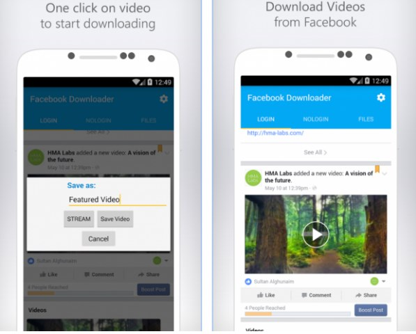 App to save videos from facebook