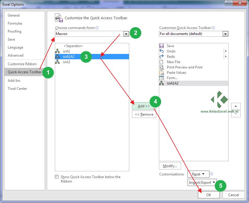 Cara memanggil sub procedure dari Quick Access Toolbars Excel