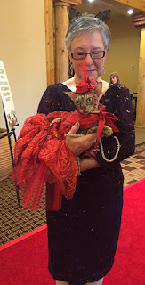 Coco, the Cornish Rex and Teri on the Red Carpet at BlogPaws, photo by Anita Zehm