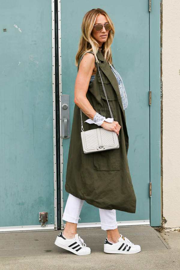 green long trench vest