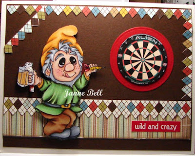 tipsy timmy dart pro birthday card on colours n cards