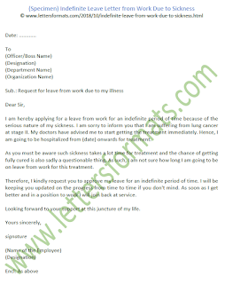 Indefinite Leave Letter from Work Due to Sickness (Sample)