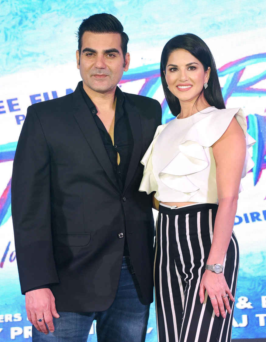 Sunny Leone and Arbaaz Khan at 'Tera Intezaar' Poster Launch Event