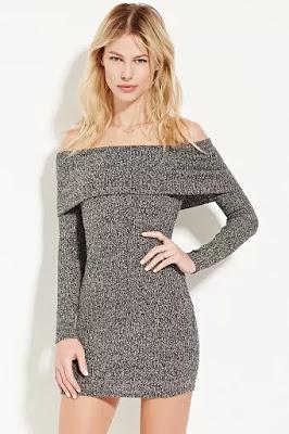 Forever 21 gray off shoulder sweater dress