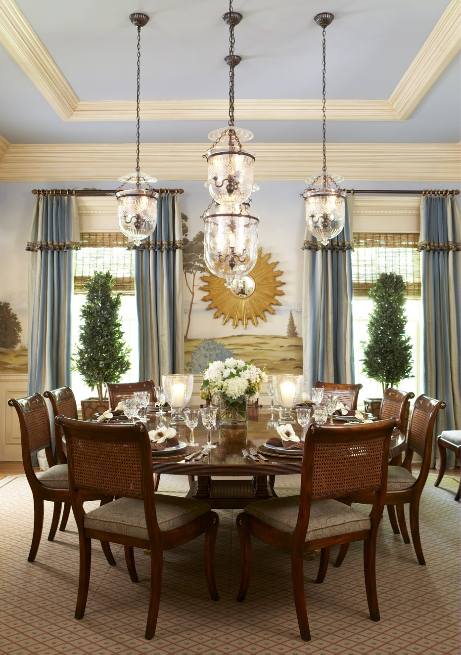 Blue French Country Dining Room