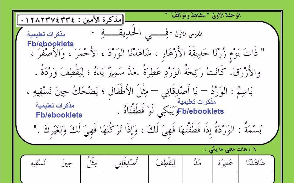 مذكرة الأمين في اللغة العربية 2017 للصف الثانى الابتدائى للأستاذ هانى أمين