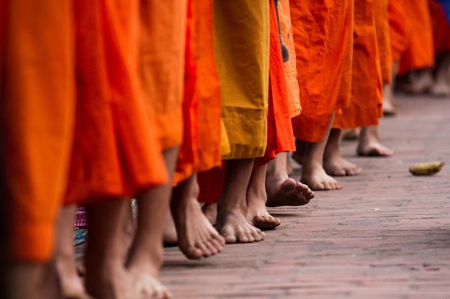 a line of buddhist monks walking barefooted along the road