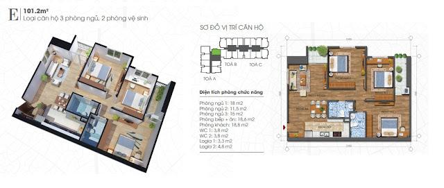 Thiết kế căn 101m - 3 phòng ngủ Ecolife Tây Hồ