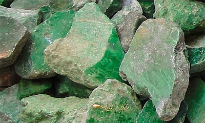 Raw green jadeite