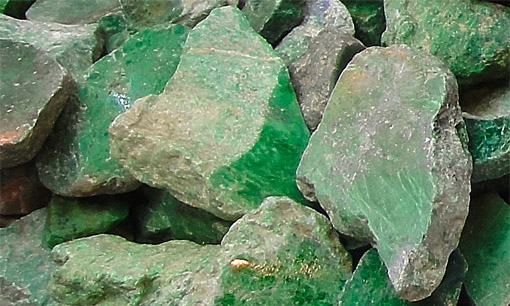 Raw green jadeite