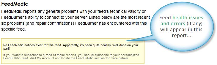 Feedburner's FeedMedic report