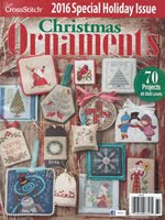FIND BLUE RIBBON DESIGNS IN THE JUST CROSSSTITCH 2016 ANNUAL CHRISTMAS ORNAMENT ISSUE