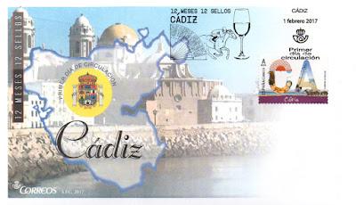 Sobre primer día Cádiz, 12 sellos, 12 meses, 12 provincias