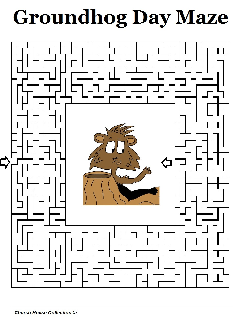 Free coloring page groundhog day