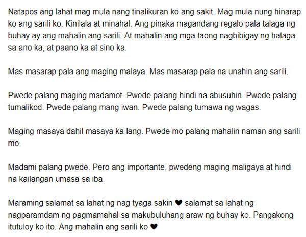 Angelica Panganiban birthday hugot message'