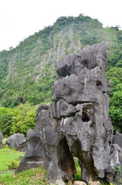 Unik Batu-batu tumbuh Taman prasejarah Leang Leang Maros | © JelajahSuwanto