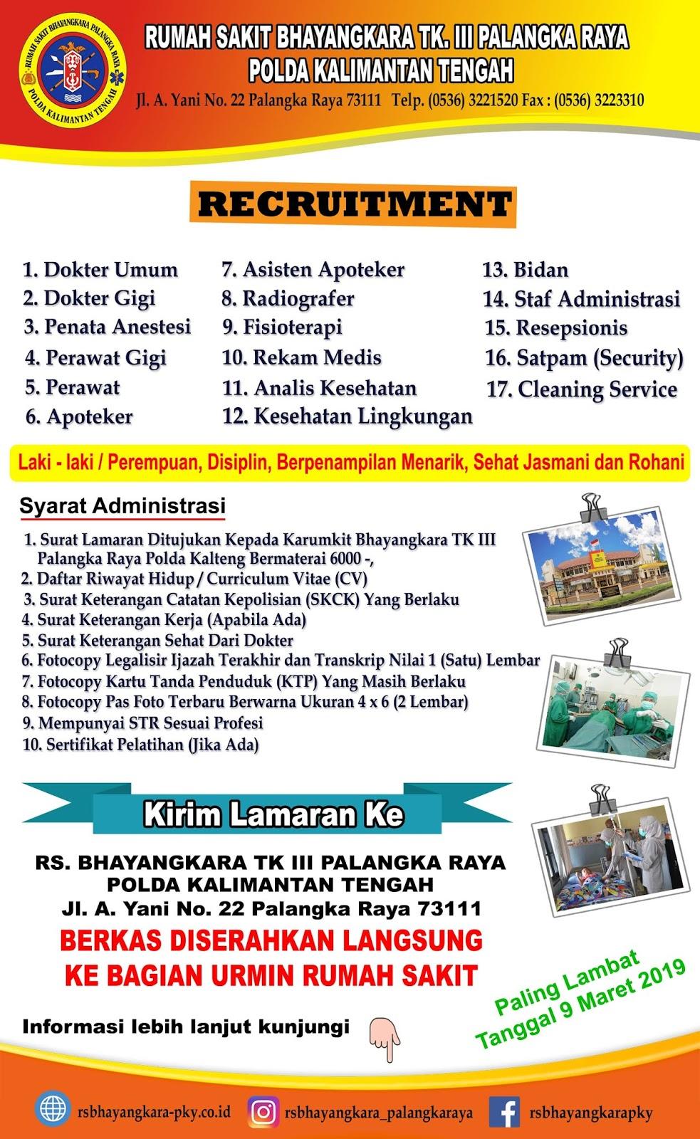 Lowongan Kerja Rumah Sakit Bhayangkara Palangka Raya 2019 17 Posisi Lowongan Lowongan Kerja Kalimantan Tengah