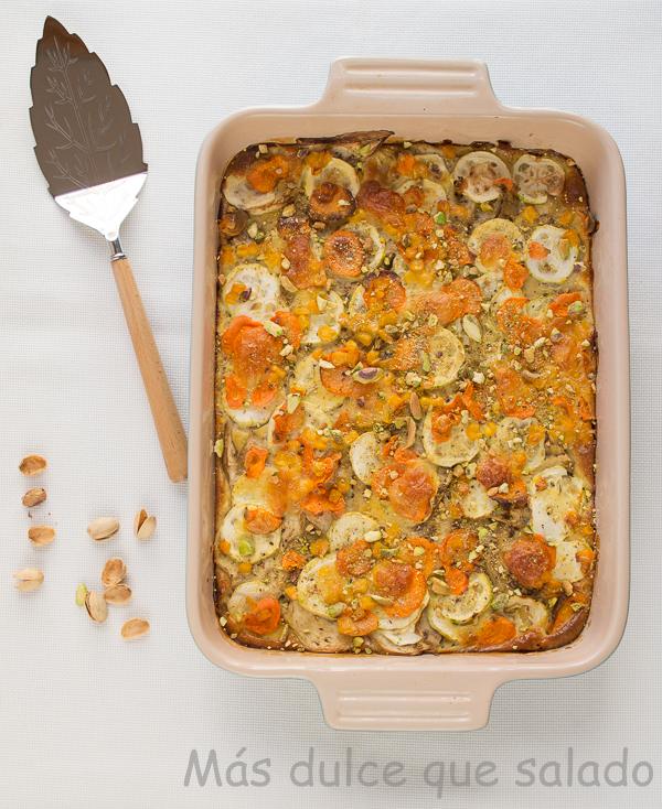Pastel de verduras con pistachos