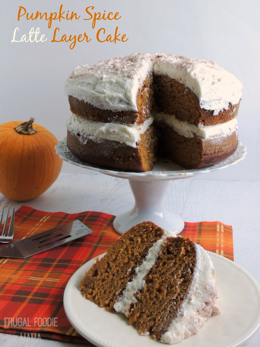 Pumpkin Spice Latte Layer Cake via thefrugalfoodiemama.com - your favorite fall coffee drink in a moist, decadent cake form!
