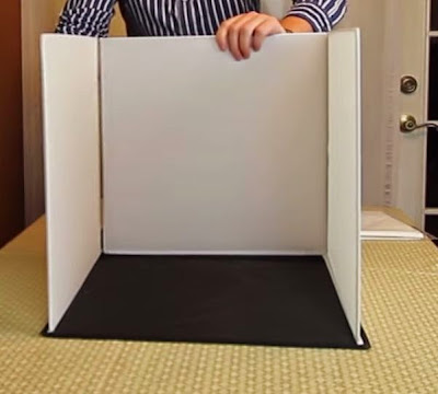 Mini lightbox: Attach and join velcro strips at sides