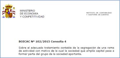 BOICAC 102 consulta 4 segregación actividad grupo