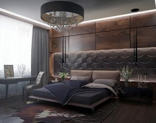 Dormitorio con panel madera