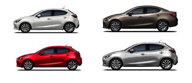 Mazda 2 2018 có 4 màu ngoại thất bao gồm đỏ trắng nâu vàng và xám