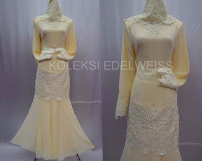 Camellia-Baju Kurung Moden NIkah Koleksi Baju  Pengantin Baru 2016  Warna Krim