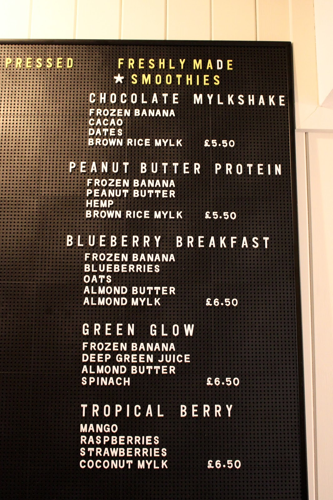 The Mae Deli by Deliciously Ella drinks menu