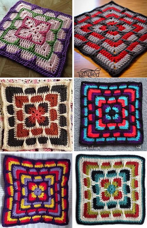 Crochet afghan larksfoot square motif in different colors