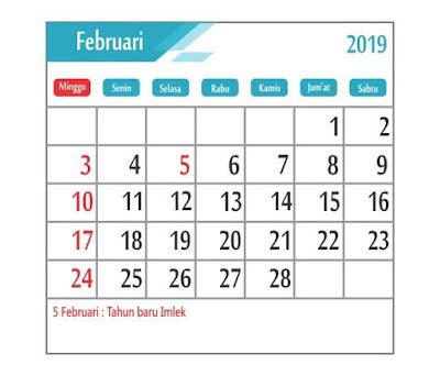 Kalender Februari 2019 - tanggal merah